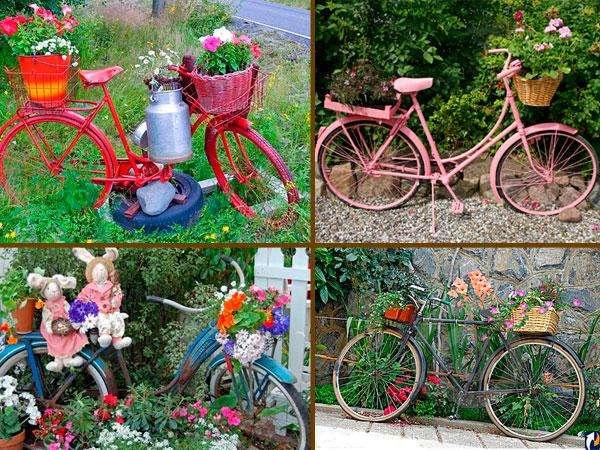Также можем предложить вам идею оформления дачи или сада с участием велосипеда, тачки, старых калош, посуды и других ненужных предметов в качестве цветников.