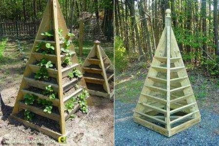 Интересны также вот такие грядки-пирамидки для клубники.