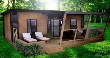 Стартовая цена просторных домов из дерева с отделкой из материала, имитирующего брус, — 270 000 руб.